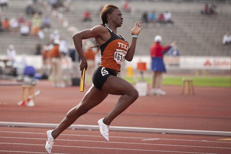 A runner competing in the 2012 Texas Relays today.