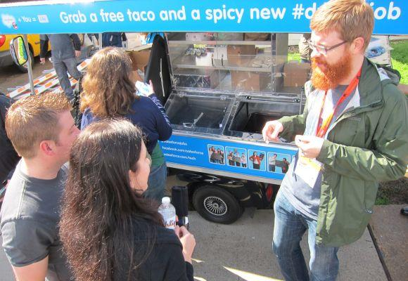 Salesforce.com rented their own trailer and bought tacos from Peached Tortilla.