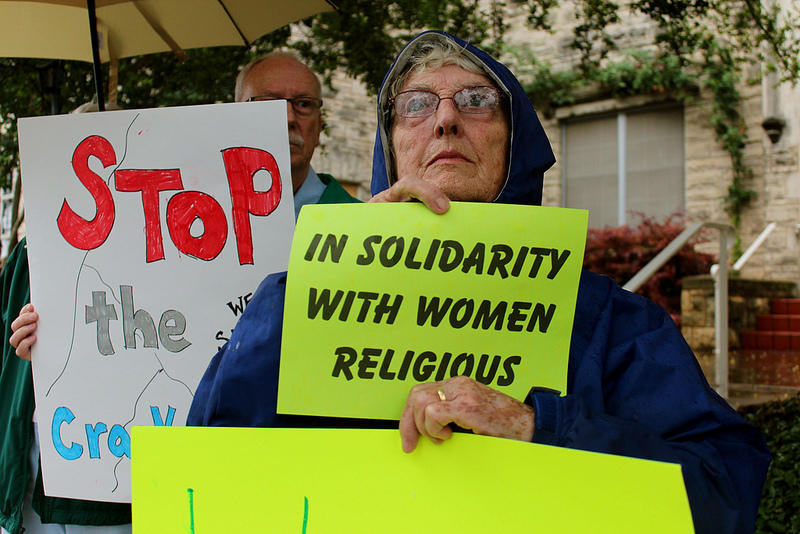 Supporters rallied in defense of the Leadership Conference of Women Religious this afternoon.