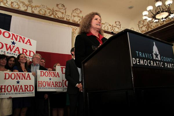 Rep. Donna Howard delivers a victory speech at the Driskill Hotel.