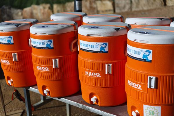 The coolers provided by RunTex greeted trail visitors this morning after a two month suspension.