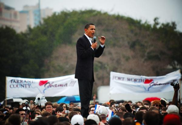Obama addresses the crowd at Auditorium Shores in his first visit as a presidential candidate.