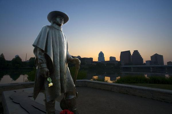 Stevie Ray at sunrise on Lady Bird Lake.