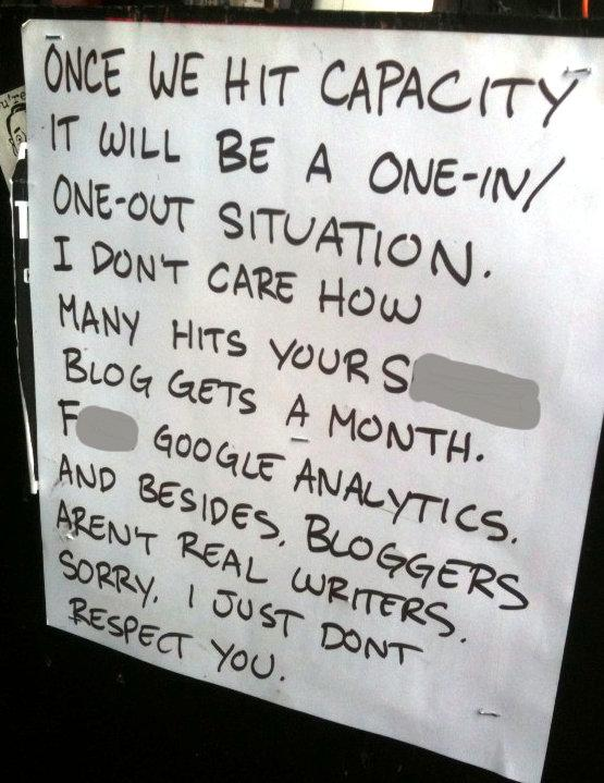 "This sign posted outside of Beerland over SXSW 2010 went, as the kids say, ""viral.""  (We've edited some of the language.)"