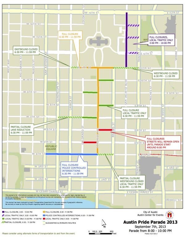 A full and partial road closures map for Austin Pride Parade 2013.