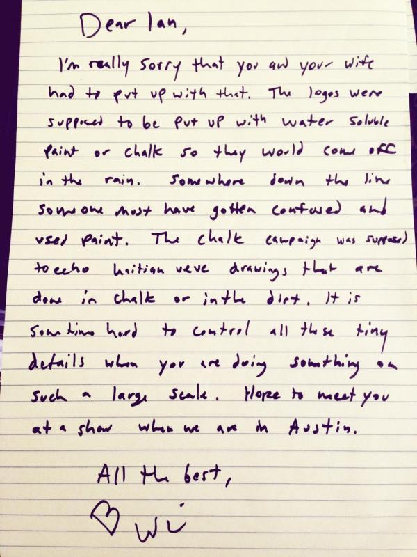 Arcade Fire frontman Win Butler's letter.