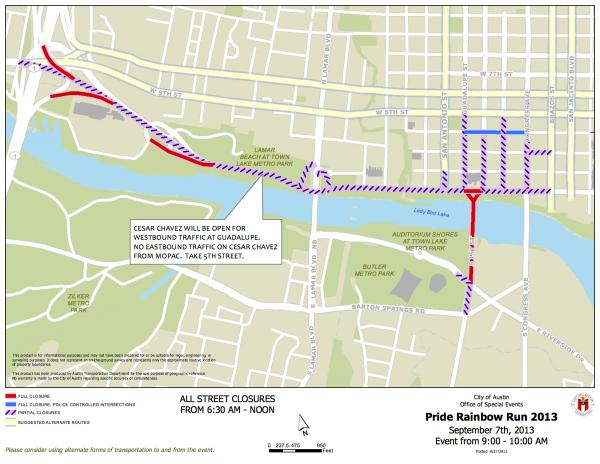 Road closure map for the Austin Rainbow Run 5K. Click to enlarge.