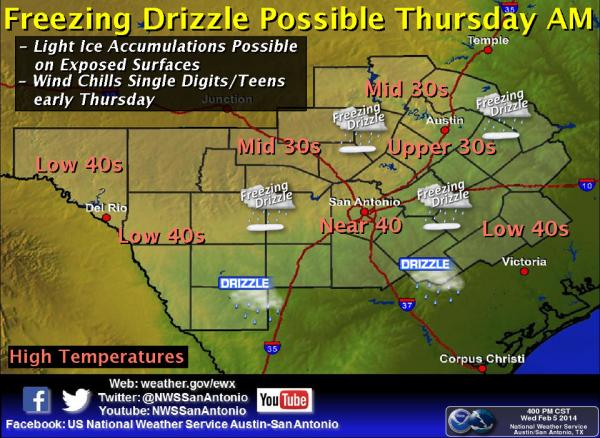 Austin could be looking at freezing precipitation on Thursday, although roads are expected to remain in decent shape.