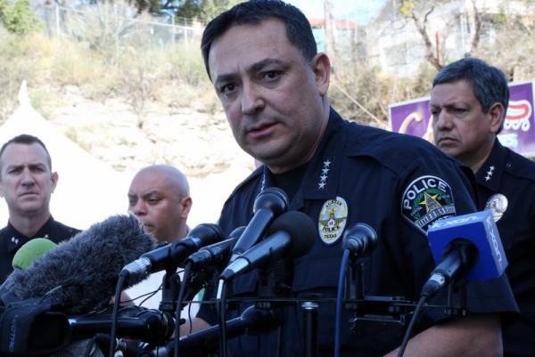 Austin Police Chief Art Acevedo at the press conference this morning.