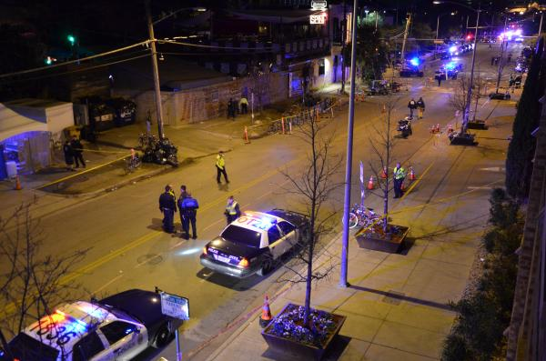 The scene on Red River Street after crowds were cleared.
