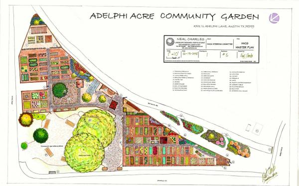 An outline of the Adelphi Acre Community Garden.