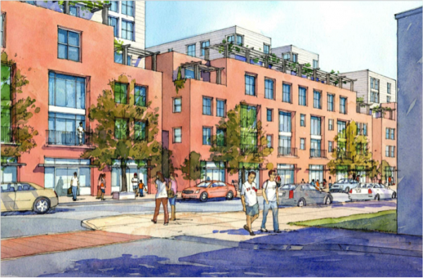 A rendering of market rate housing units along E. Fifth Street.