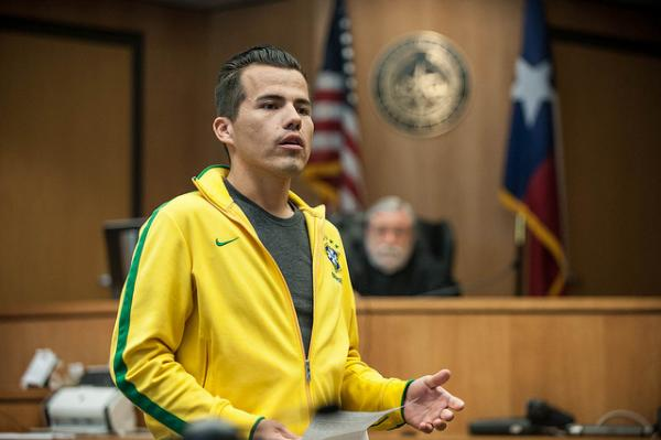 Veteran Omar Lopez gives a graduation speech at the Travis County veterans court on May 15, 2014.