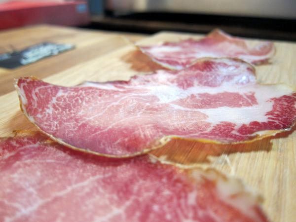 Thinly sliced coppa by Salt and Time