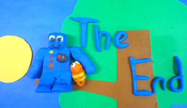 A screen shot of one of the Claymation films made by AFF Summer Campers.