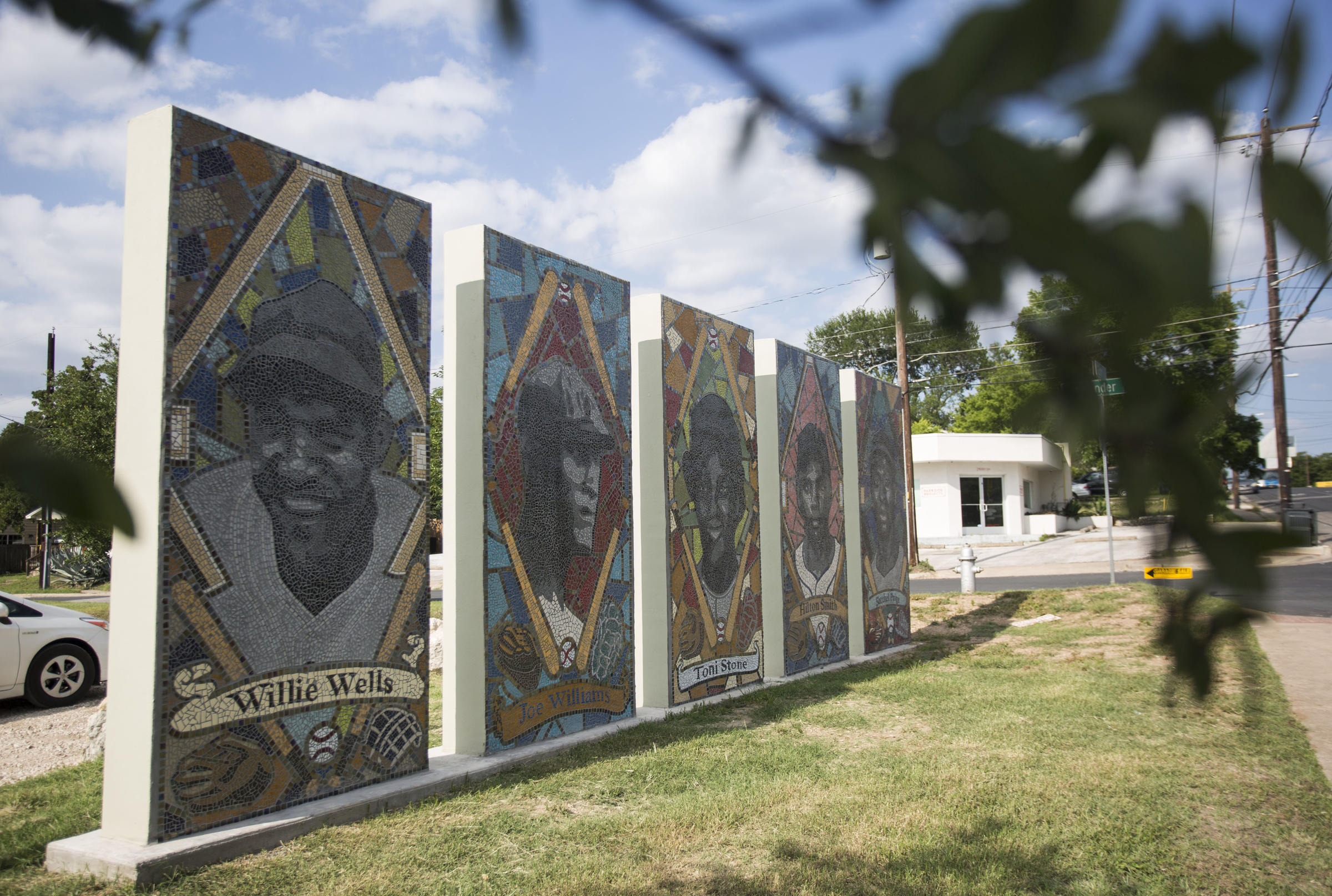 first renovations to austin s historic downs field deemed a home the city partnered with an artist to create tile murals of famous baseball luminaries who used to grace the field