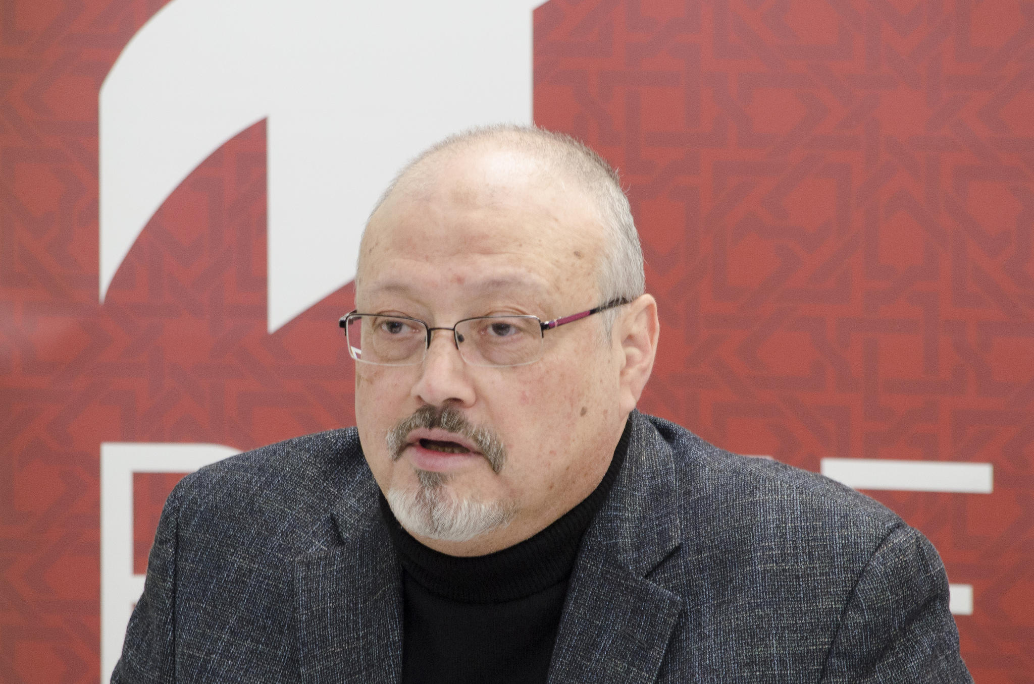 Jamal Khashoggi speaking at a Project on Middle East Democracy event in Washington D.C. in March