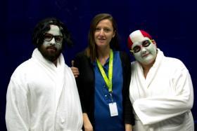 Brian Colonna (L), and Hannah Duggan (R), Buntport Theatre Company, squeeze Jaime Kopke into an impromptu portrait.
