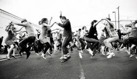 A flash mob's swing dance in 2013