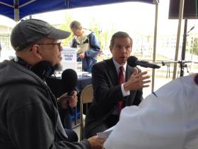 Federico Pena at Union Station grand opening, interviewed by Steve Chavis, Victor Cooper