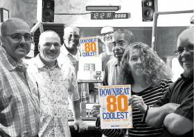 KUVO Hosts pile into the studio to snap a picture with DownBeat Magazine's special edition. Pictured LtoR: Carlos Lando, Arturo Gómez, Victor Cooper, Erik Troe, Rodney Franks, Susan Gatschet Reese and Steve Chavis