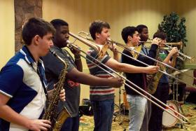 Some of the reed and brass players in the Vail Jazz Workshop 2013 class.
