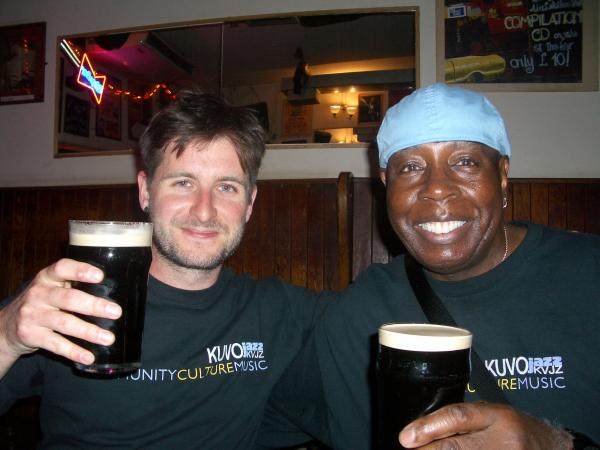 "Follow Up Buzz: On a recent trip to the UK, Morning Beat Host Victor Cooper snagged a pint with Pete Naughton, reporter for The Telegraph UK who named us ""1 of 3 Best Jazz and Soul internet radio stations"". Bonus cool factor? They are BOTH sportin' KUVO T-shirts! #JazzMessenger Tune in now or 9-12/M-F for Victor's straight ahead jazz playlists."