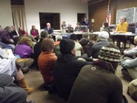 The community gathers to question the BLM regarding natural gas leases.