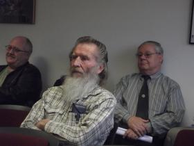Delta County Sheriff Fred McKee (right) was part of the crowd Monday when commissioners passed an ordinance banning commercial marijuana enterprises in the unincorporated areas.
