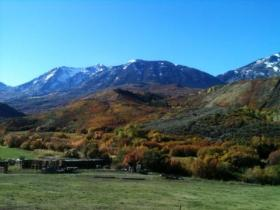 View towards the mountains at the Harding Ranch