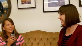 Sadie Miller speaking with Annette Pretorius.