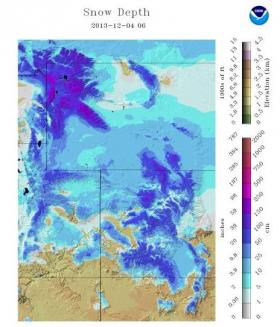 Snow Depth in the Central Rockies, as of 12/4/13