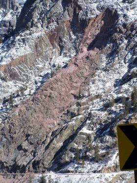 A view of the rockslide