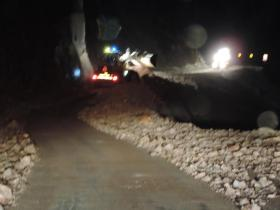 Crews worked into the night on Sunday to clear the first of two rockslides that have closed US 550 just south of Ouray.