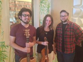 Mt Thelonius are:  Ian Lubar (vocals and guitar), Alyssa Avery (violin and vocals) and Mark Wallace (upright bass).