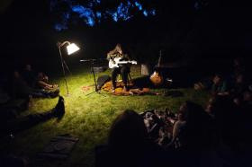 Marisa Anderson playing a backyard concert in Paonia.