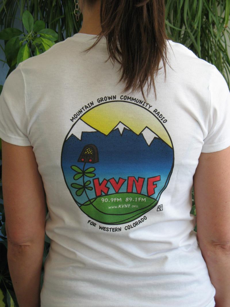 Get the newest KVNF t-shirt for a $75 pledge (Awesome design by Patty Naft)