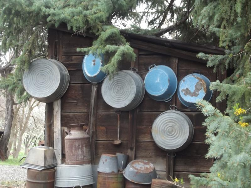 A collection of old tubs hanging on the former Beezley ice house.