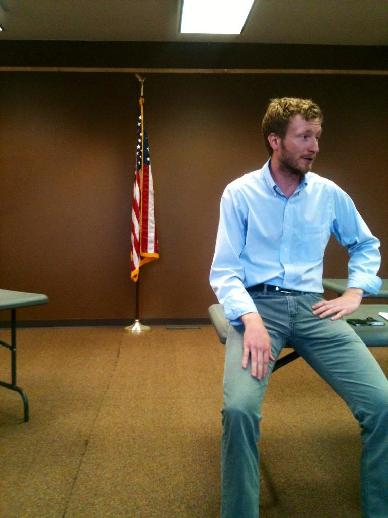 Grant Colvin, Legislative Assistant for Colorado US Senator Michael Bennet, takes comments from the public on the Farm Bill