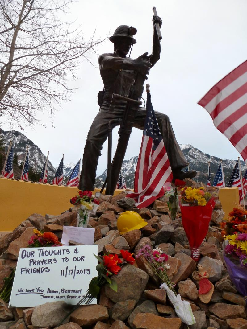 Miner's Memorial Statue in Ouray, Colorado.