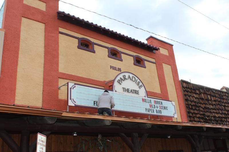 Outside the Paradise Theatre on Grand Ave in Paonia