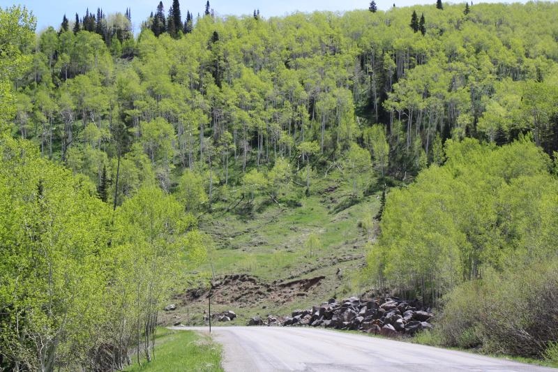 This stretch of Highway 65 shows an area where a landslide occurred.