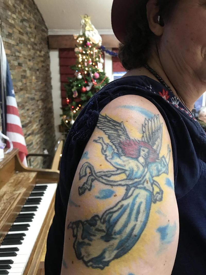 Teresa's angel tattoo, Paonia Care, 2018