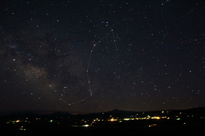 Scorpius over Norwood, CO and Lone Cone Mountain