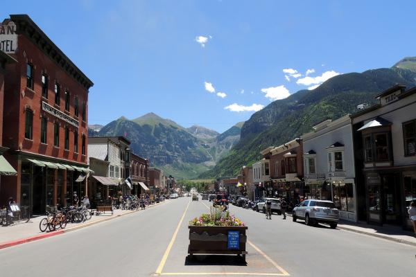 Telluride's Main Street during the summer and the annual Bluegrass Festival, June 2012.
