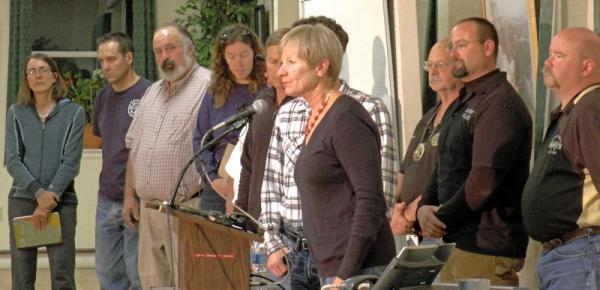 Ouray County and Star Mining Officials speak to members of the media during Sunday night's press conference