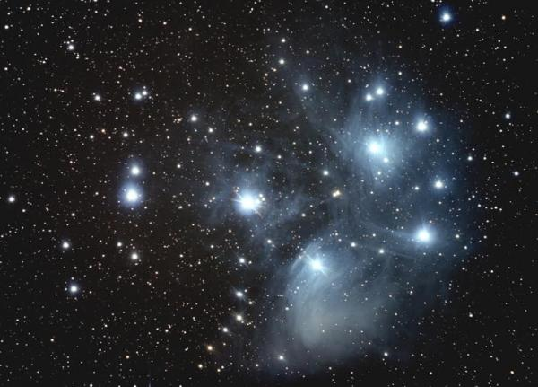 """Star Cluster Pleiades, captured with a 5"""" telescope and DSLR camera in November, 2012"""