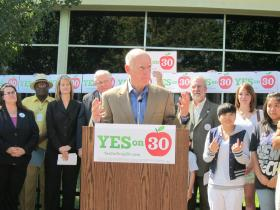 Governor Brown at the kickoff rally for Prop 30 earlier this year