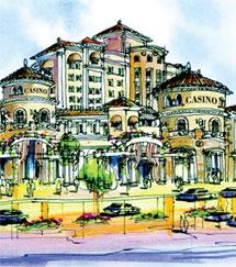 An artist's rendering of a proposed Highway 99 casino proposed by the North Fork Rancheria Band of Mono Indians.