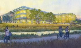An artist's rendering of the Science and Engineering 2 building currently under construction at UC Merced.